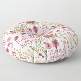 'Feminist Killjoy' cute floral print Floor Pillow