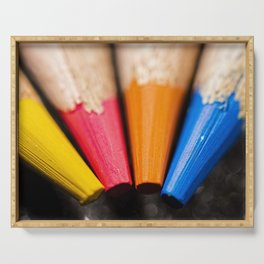 Macro photo of coloured pencils Serving Tray