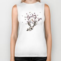animal skull Biker Tanks featuring Animal Skull and Butterflies by Paula Belle Flores