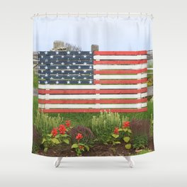 American Flag Rustic Shower Curtain