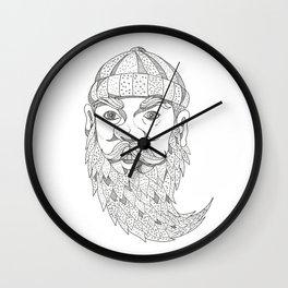 Paul Bunyan Lumberjack Doodle Art Wall Clock