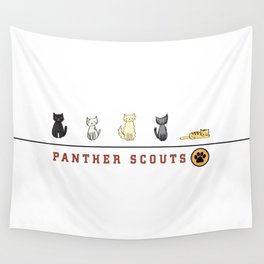 Five Cats All in a Row - Panther Scouts Characters Wall Tapestry