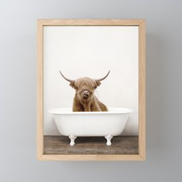 Highland Cow in a Vintage Bathtub (c) Framed Mini Art Print