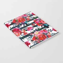 Magenta pink fuchsia black white watercolor floral stripes Notebook