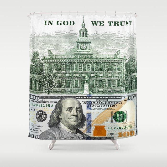 cash money old Ben 100 bucks dollars us currency in God we Trust Shower  Curtain