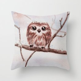 Funny little owl Throw Pillow