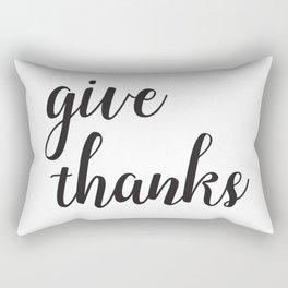 Give Thanks Black Lettering Design Rectangular Pillow