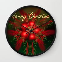 merry christmas Wall Clocks featuring Merry Christmas by Roger Wedegis