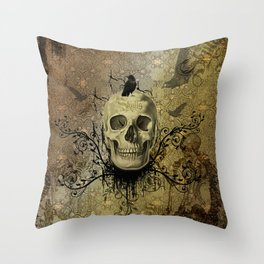 Skull and crow Throw Pillow
