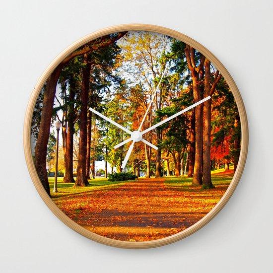 Autumn pathway Wall Clock