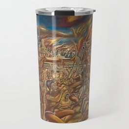 The Fall of Tenochtitlan, the capital of the Aztec Empire landscape by A. Cantu Travel Mug