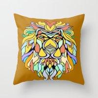 metallic Throw Pillows featuring Metallic Lion by J&C Creations
