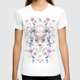 Lilac Butterfly and Flowers T-shirt