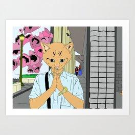 Kitten Monk Art Print