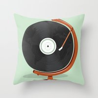 record Throw Pillows featuring World Record by Ryder Doty