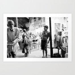 Street life in Rishikesh Art Print