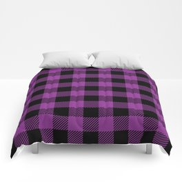Buffalo Plaid - Purple & Black Comforters