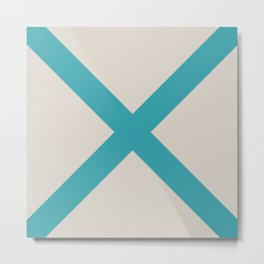 Nautical Flag, Letter M (Sea Turquoise, Cream) Metal Print