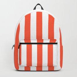 Living Coral Beach Hut Vertical Stripe Fall Fashion Backpack