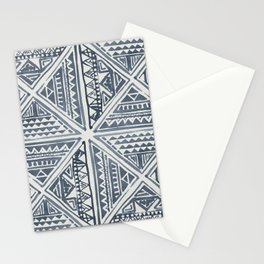 Simply Tribal Tile in Indigo Blue on Lunar Gray Stationery Cards