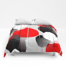 Modern Anxiety Abstract - Red, Black, Gray Comforters