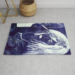 Crow Girl -Dark Blue Rug