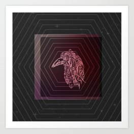 Tribal Raven: Red Art Print