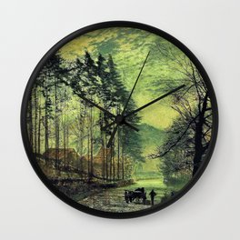 John Atkinson Grimshawn -Near Hackness, A Moonlit Scene With Pine Trees - Digital Remastered Edition Wall Clock