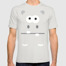 Minimal Hippo Mens Fitted Tee SMALL Silver