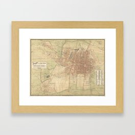 Vintage Map of Mexico City (1907) Framed Art Print