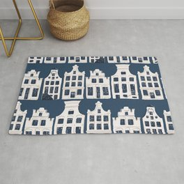 Dutch white and blue building pattern Rug
