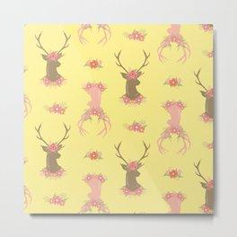 Floral Deer Neck Gator Cute Deer Antlers Yellow Metal Print