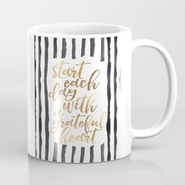 Start Each Day With A grateful Heart,Gold Foil,Inspirational Quote,Motivational Poster,Office Decor, Coffee Mug