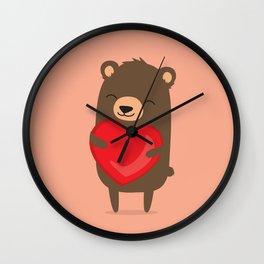 Cute cartoon bear holding heart. Wall Clock