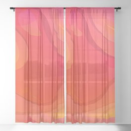 Colorful Pink Abstract Art Design Sheer Curtain