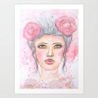Watercolor Female Portrait Art Print
