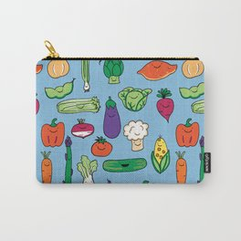 Cute Smiling Happy Veggies on blue background Carry-All Pouch