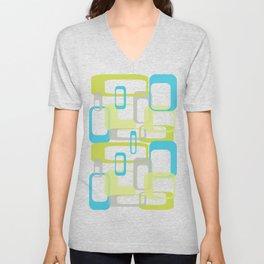 Mid-Century Modern Rectangle Design Blue Green and Gray Unisex V-Neck
