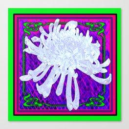 WHITE SPIDER  MUM ON PURPLE-GREEN  PATTERN Canvas Print
