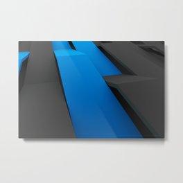 Black and blue plastic waves Metal Print