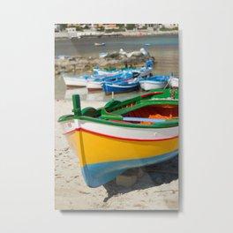 Yellow wooden boat Metal Print