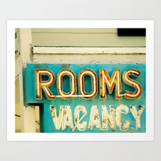 Rooms Neon Sign Art Print