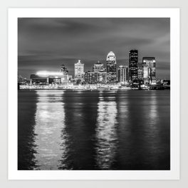 BW Louisville Skyline Over the Ohio River - Square Format Art Print