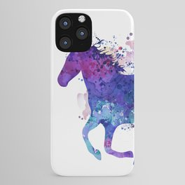 Running Horse Watercolor Silhouette iPhone Case