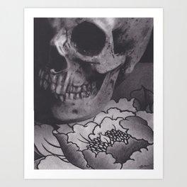 Skull and Peony Art Print