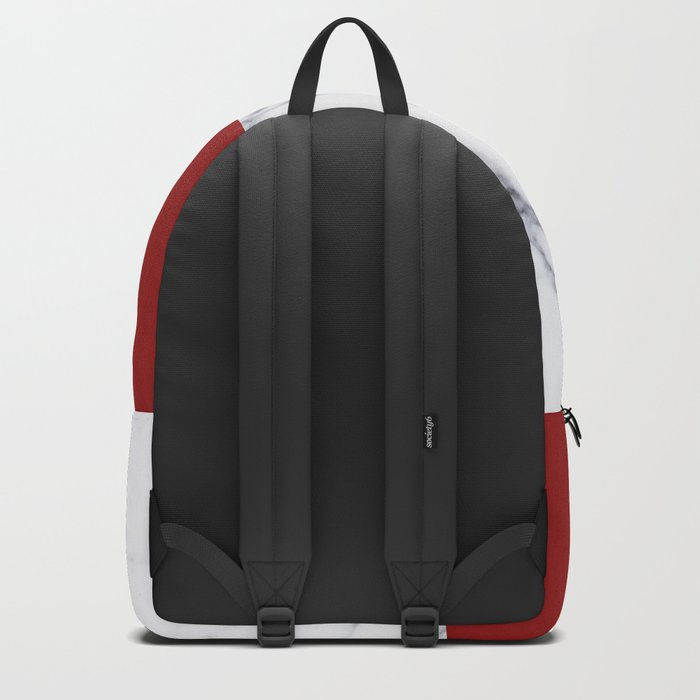 White Marble Red Hot Striped Backpack