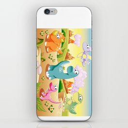 Dinosaurs Family with background iPhone Skin