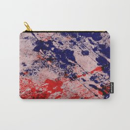 Hot And Cold - Textured Abstract In Blue, Red And Black Carry-All Pouch