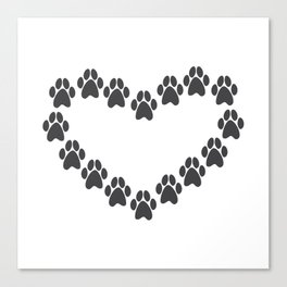 Paw Prints Heart Canvas Print
