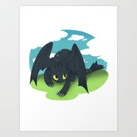toothless Art Prints featuring toothless by tsurime